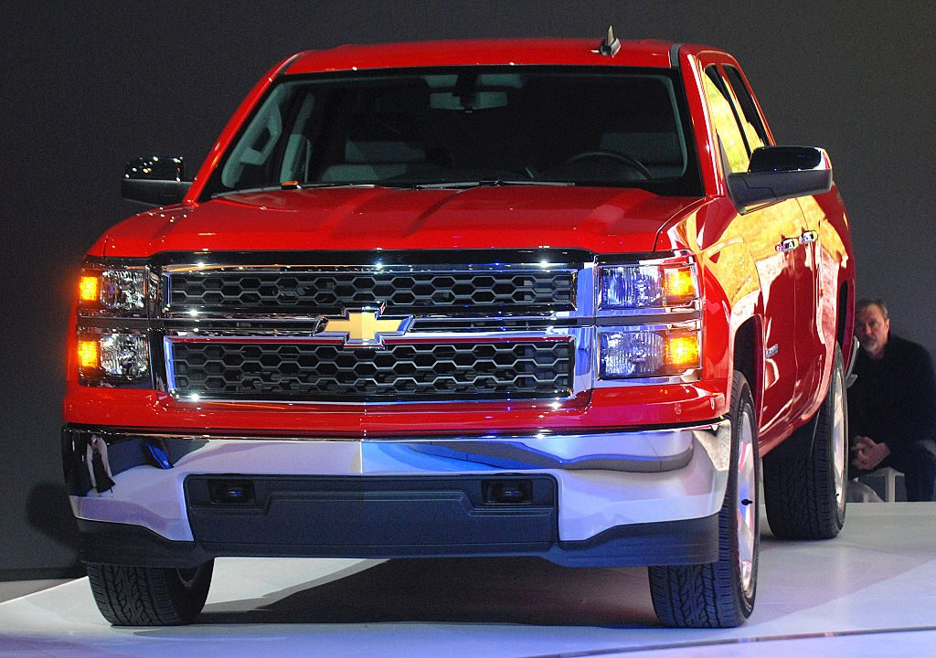 A red Chevy Silverado on display.