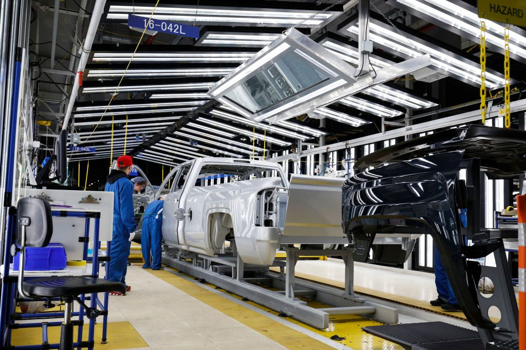 The assembly line at the General Motors Flint Assembly Plant where the new 2020 Chevy Silverado HD is being built