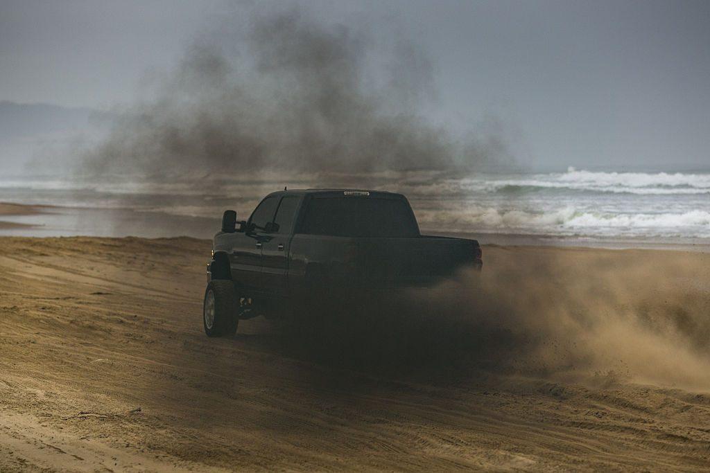 Diesel truck rolling coal