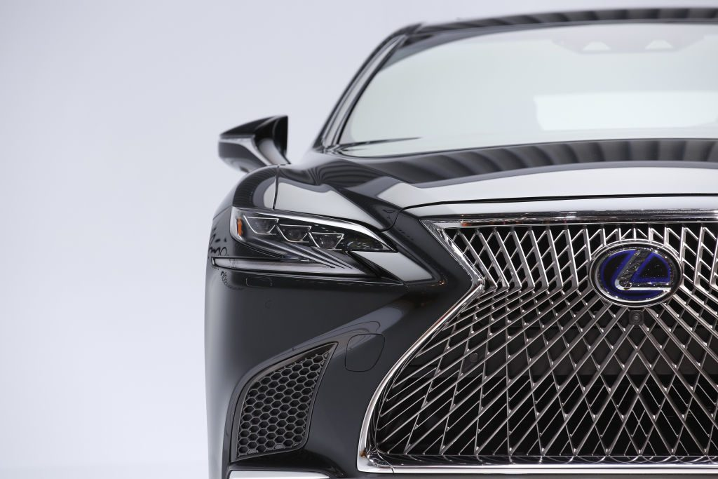 A Lexus LS 500h hybrid automobile is competition for the Mercedes-Benz S-Class in the luxury car segment