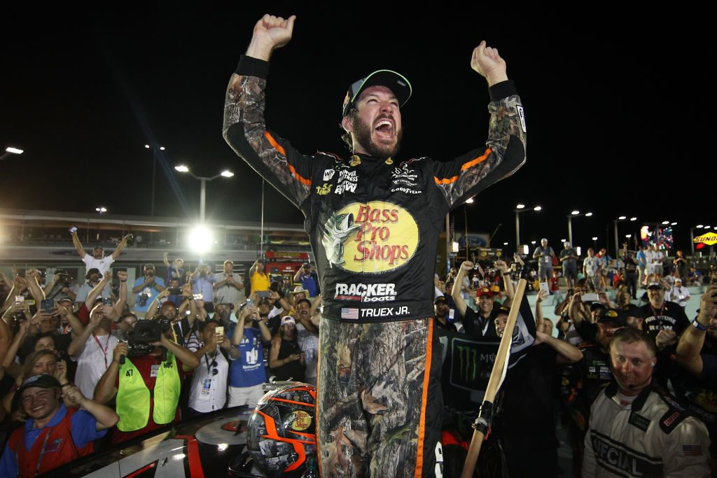 Martin Truex Jr. celebrating a NASCAR Championship