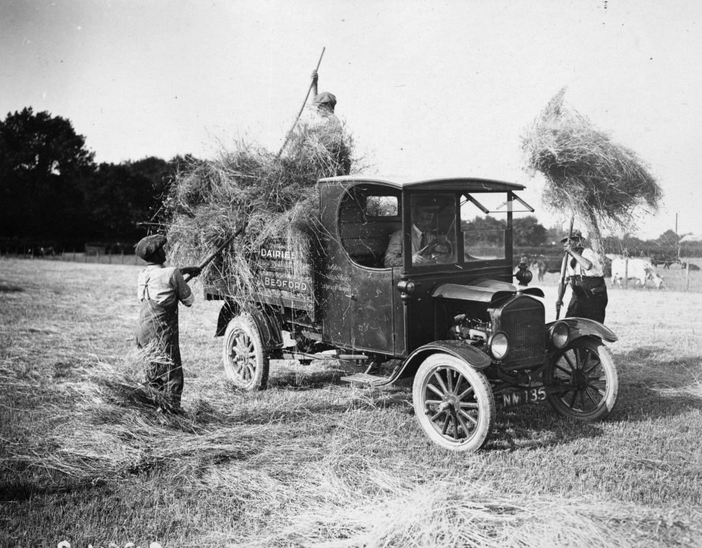 Men loading hay into the back of the back of an old pickup truck.