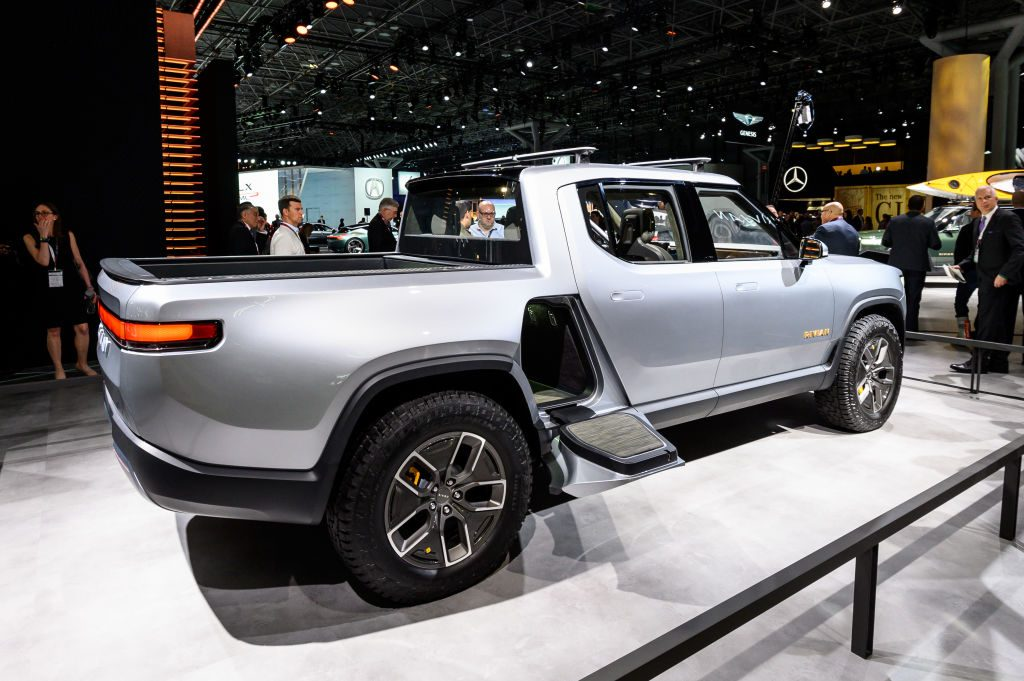 The fastest truck in the world the Rivian R1T on display.
