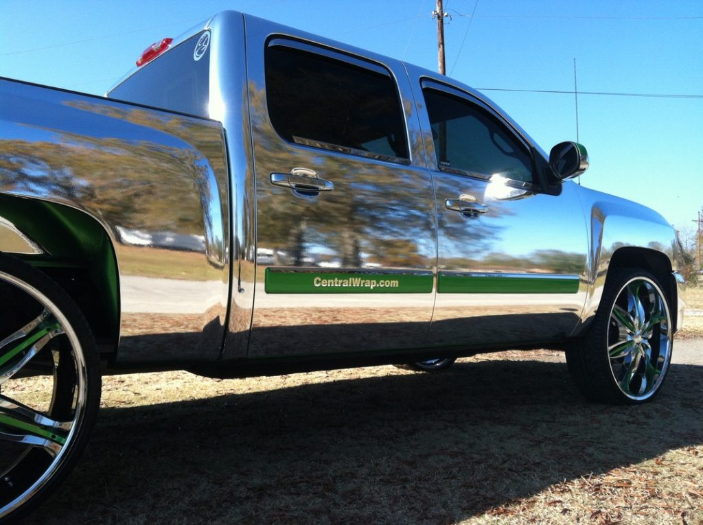 Chrome-wrapped pickup