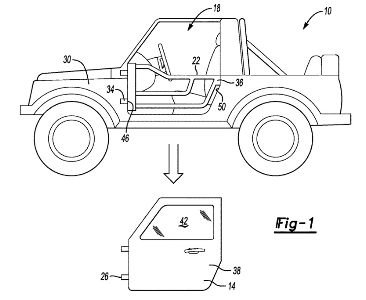 Ford Patent on Removable Doors (U.S. Patent 2019/0256037 A1)