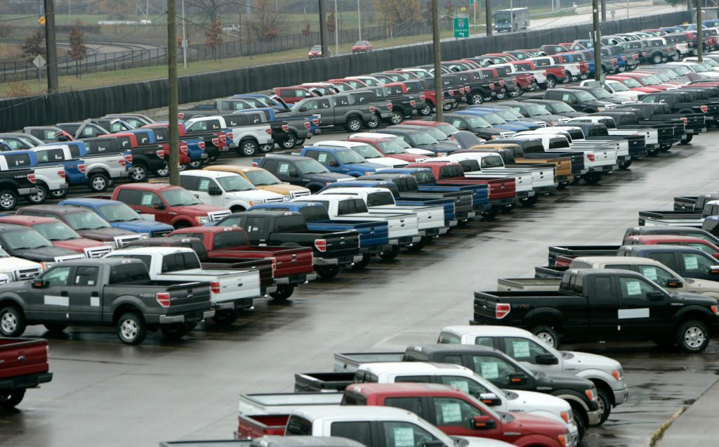 2009 Ford F-150 pickup trucks sit in a lot outside of their Dearborn Truck Plant in Dearborn, Michigan