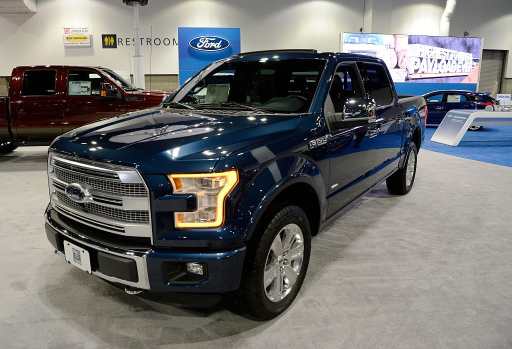 A 2016 Ford F150 Platinum 4x4 Truck on display at the Denver Auto Show