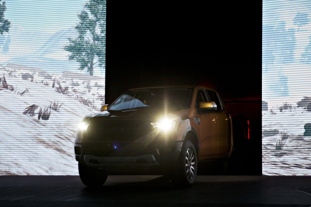 A 2019 Ford Ranger mid-size pickup truck is unveiled at the 2018 North American International Auto Show