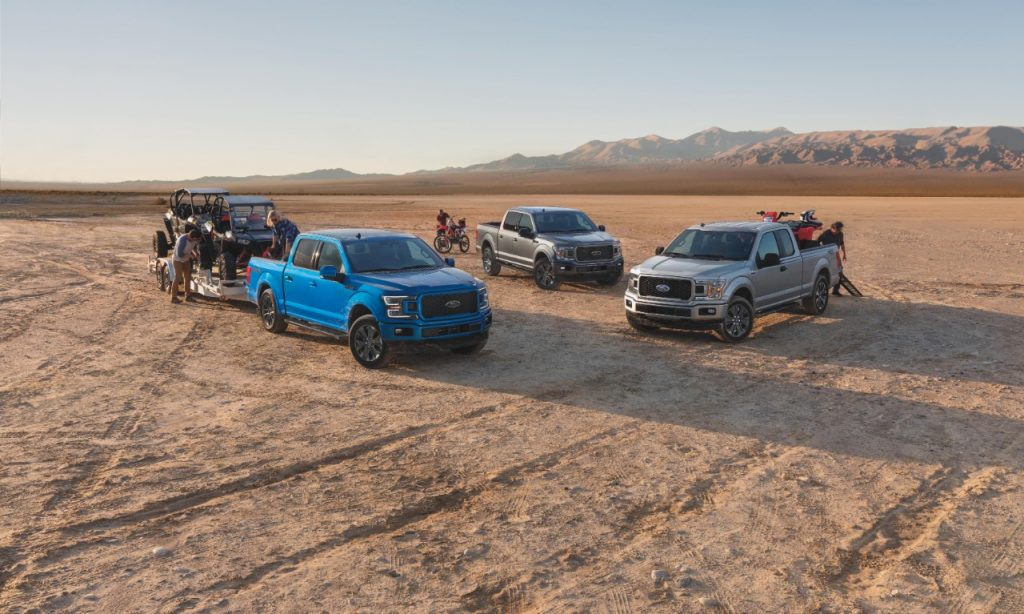 The 2020 F-150 trim levels including the Lariat XLT on the left