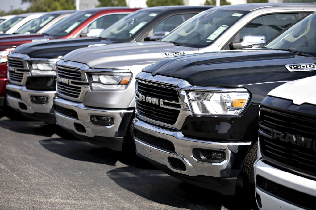 2020 RAM trucks are displayed at a car dealership in Illinois
