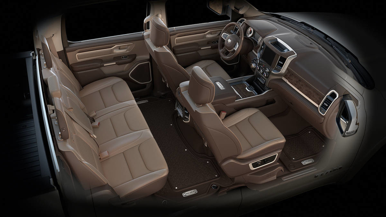 2020 Ram 1500 Laramie Longhorn interior shows massive leather seats