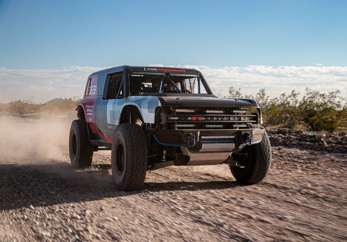 2021 Bronco R Prototype Baja 1000 racing through desert sand