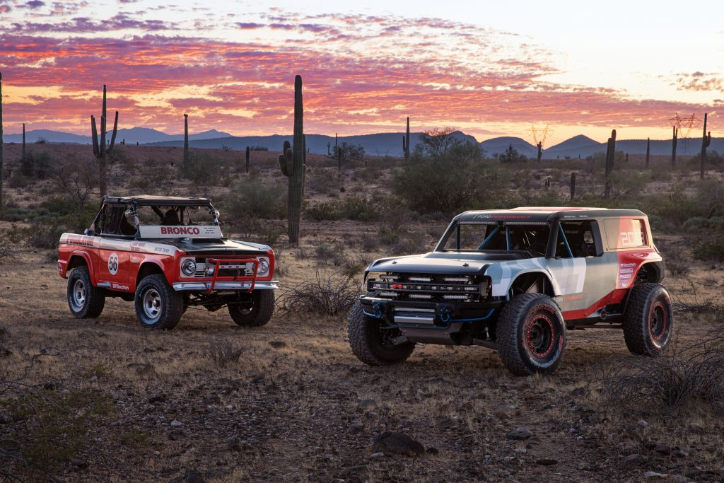 Ford Bronco R race prototype parked in the desert