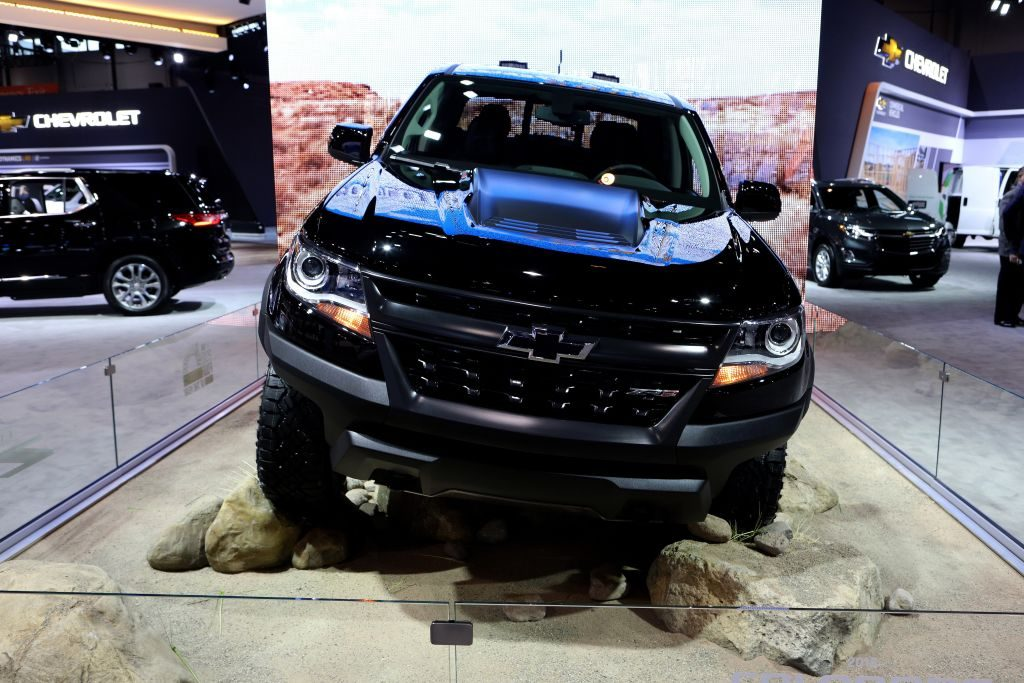 A Chevy Colorado pickup truck on display.