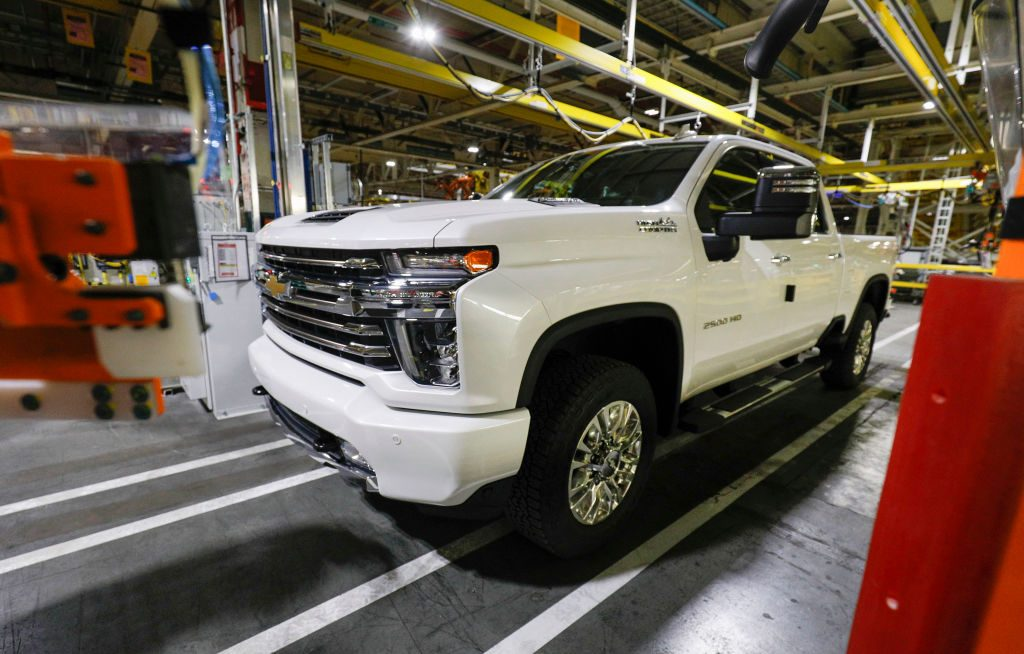 A Chevy SIlverado being assembled at a GM plant.