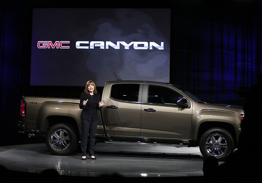 A GMC Canyon being debuted at an auto show
