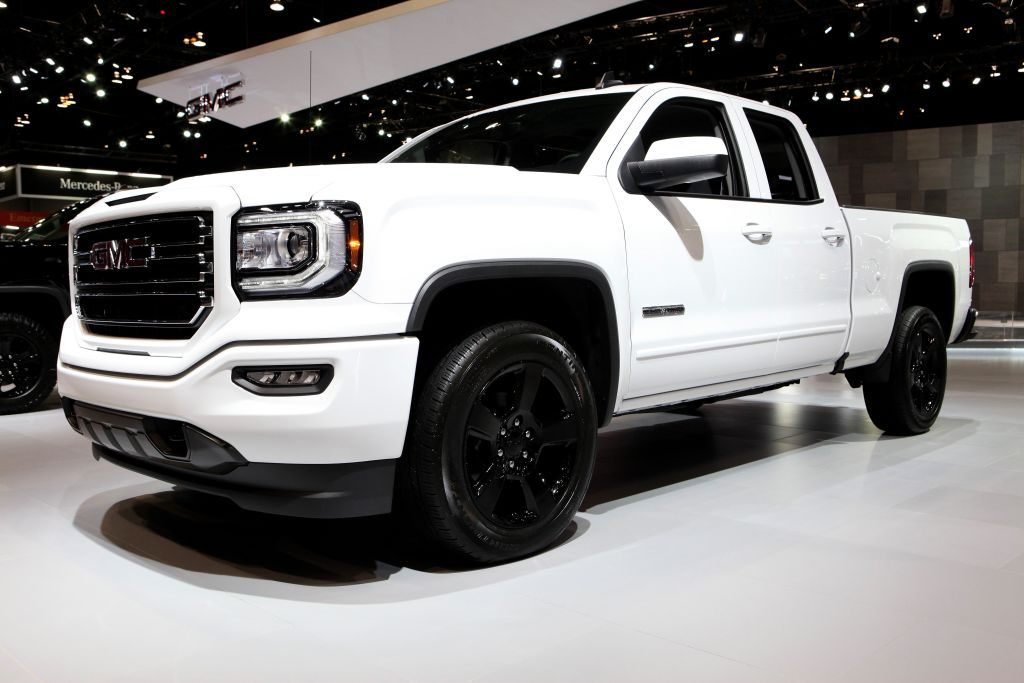 A white GMC Sierra on display