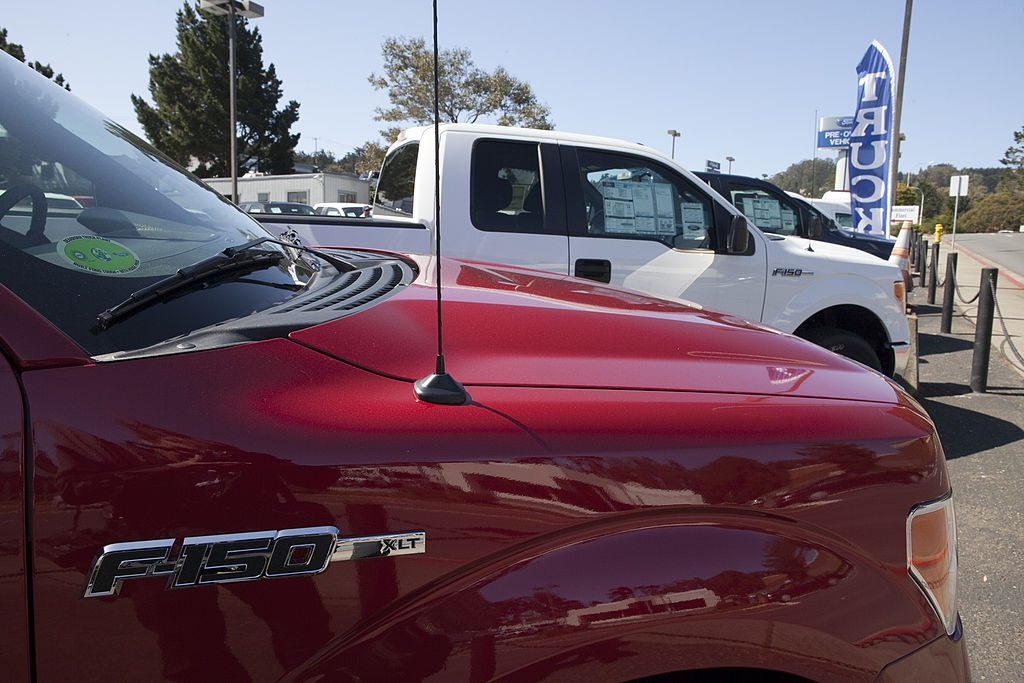 COLMA, CA - APRIL 26:  Ford F-150 pickup trucks parked on the lot at the Serramonte Ford dealership on April 26, 2011 in Colma, California.  (Photo by David Paul Morris/Getty Images)
