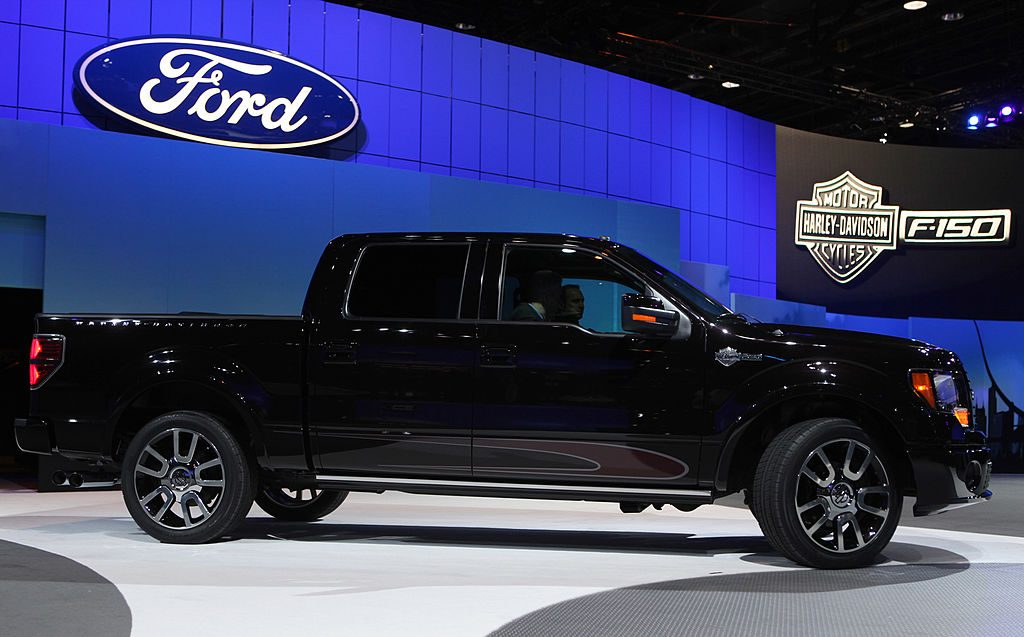 A Harley Davidson Ford F-150 on display at an auto show.