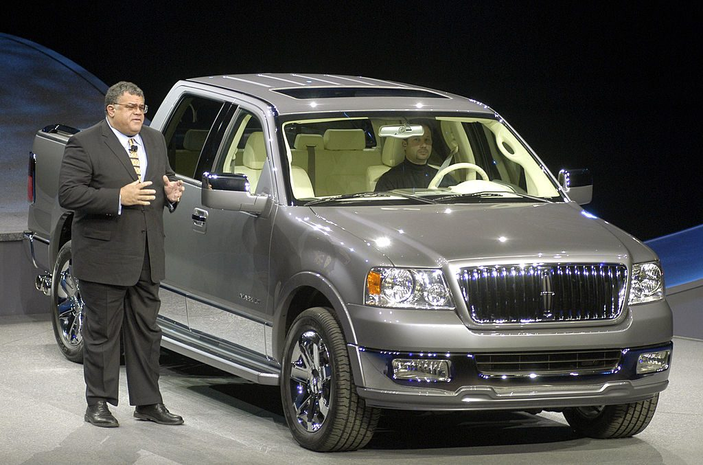 The Lincoln Mark LT being debuted at an auto show.