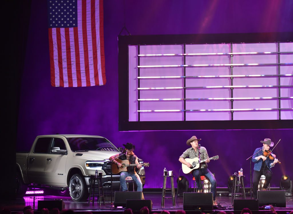 A special edition Ram truck on stage during a charity concert.