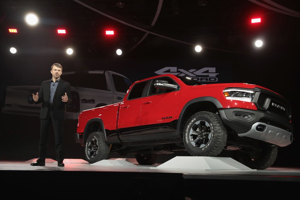 A Ram Rebel truck on display at an auto show.