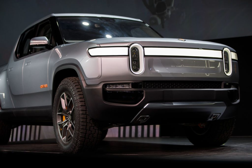 The Rivian Automotive Inc. R1T electric pickup truck on display