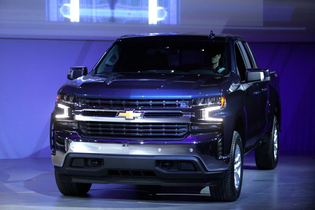 The Chevy Silverado on display at an auto show in 2019