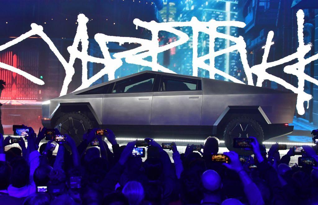 Tesla Cybertruck being debuted