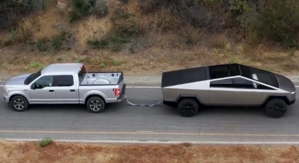 Tesla Cybertruck Ford F-150 towing tug-of-war