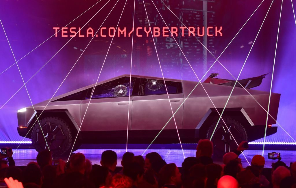 The Tesla Cybertruck reveal shows the truck on stage.