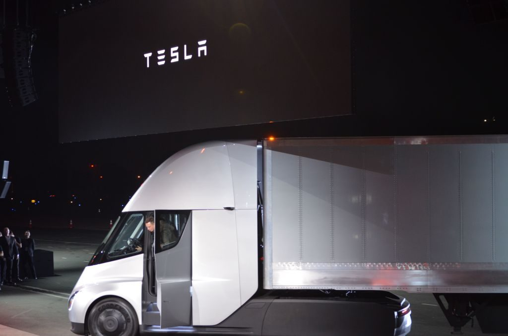 Elon Musk of Tesla shows off the company's new semi electric truck.
