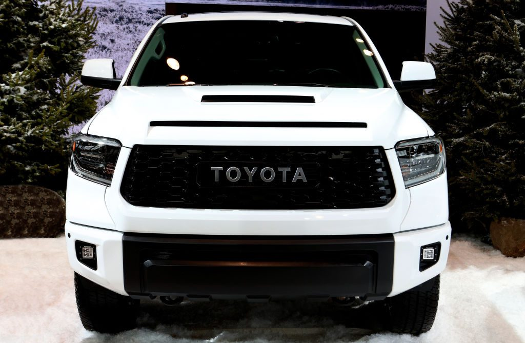 Front view of a white 2020 Toyota Tundra