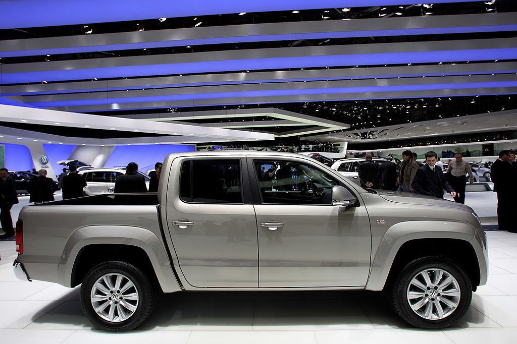 A Volkswagen Amarok on display at an auto show.