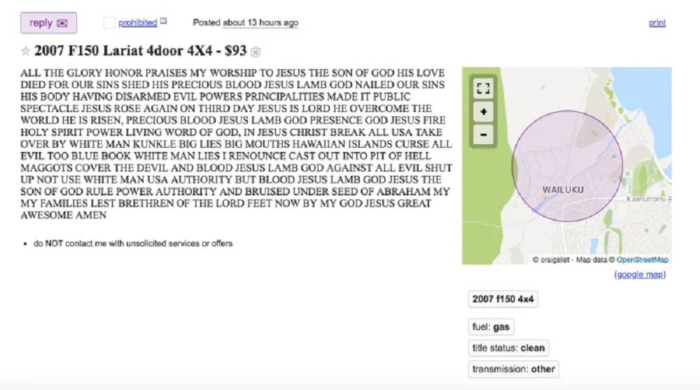 What not to include in your Craigslist truck or car ad