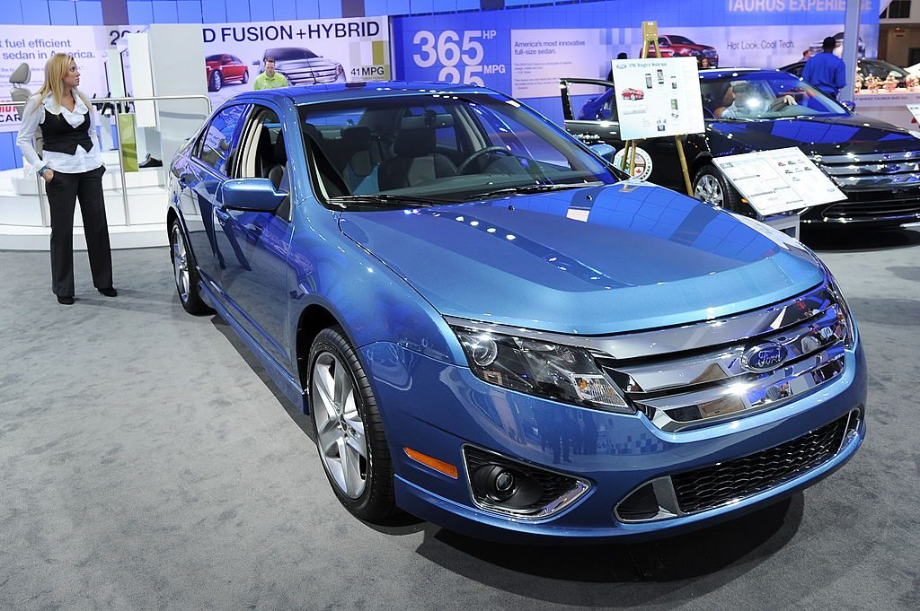 A 2010 Ford Fusion on display at an auto show