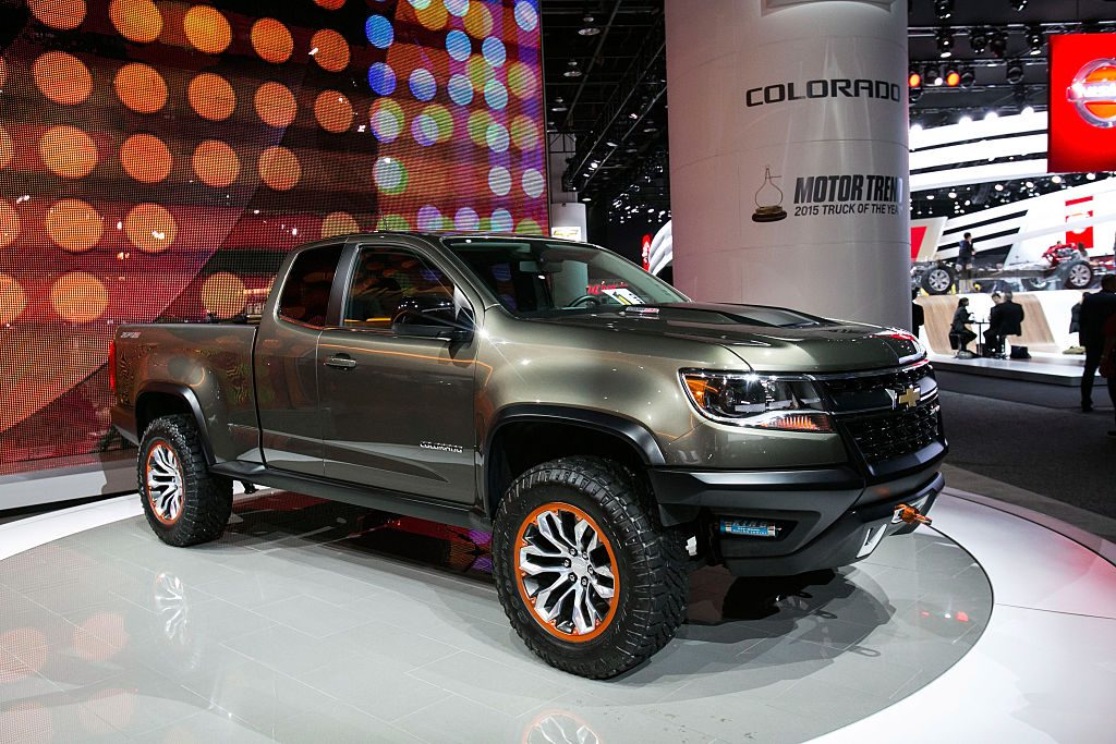 The 2015 Chevy Colorado on display.