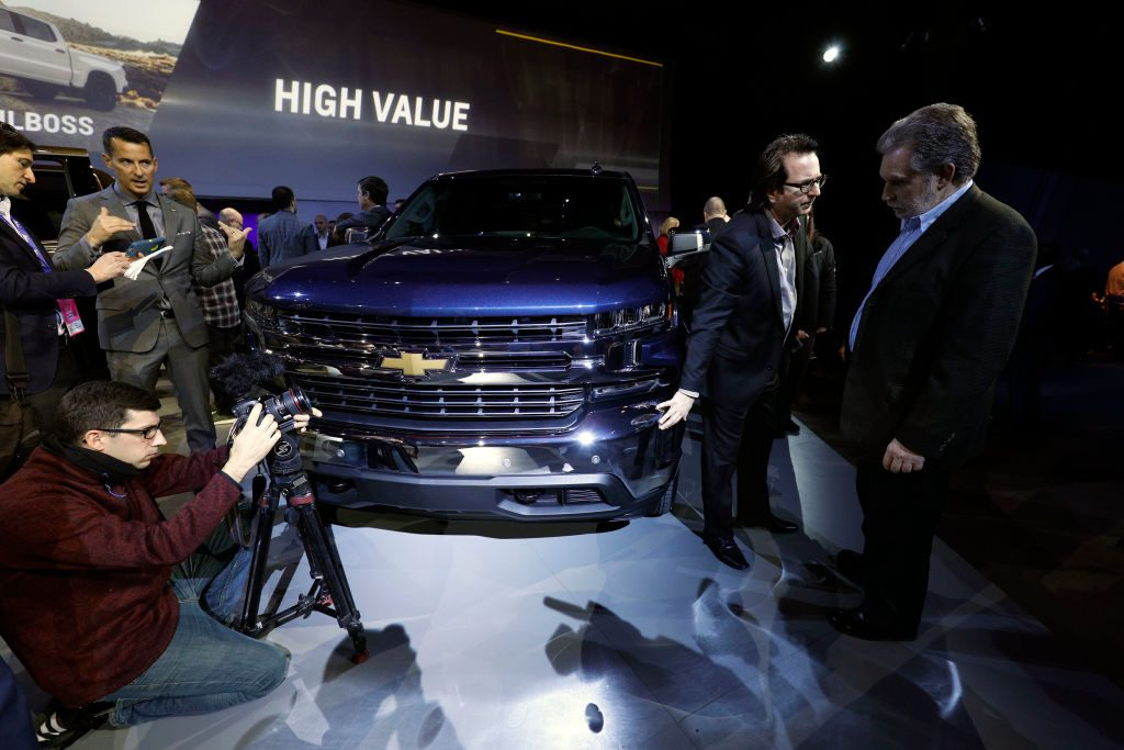 The new 2019 Chevy Silverado 1500 on display at the North American International Auto Show
