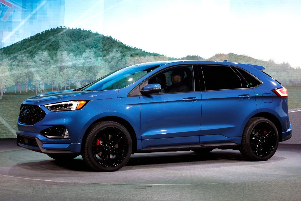 2019 Ford Edge ST on display at the 2018 North American International Auto Show.