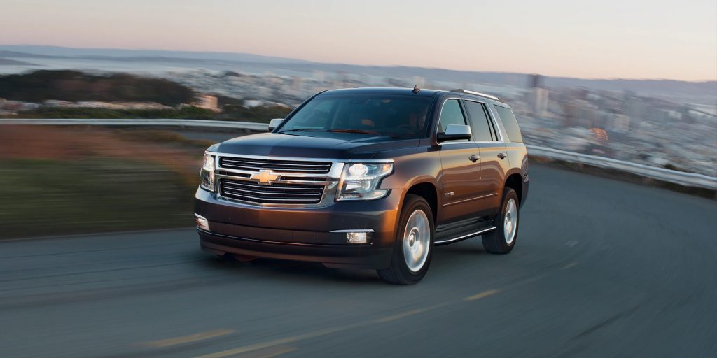 2020 Chevrolet Tahoe SUV at speed on a winding road
