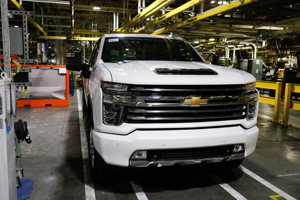 A 2020 Chevrolet Silverado on the assembly line