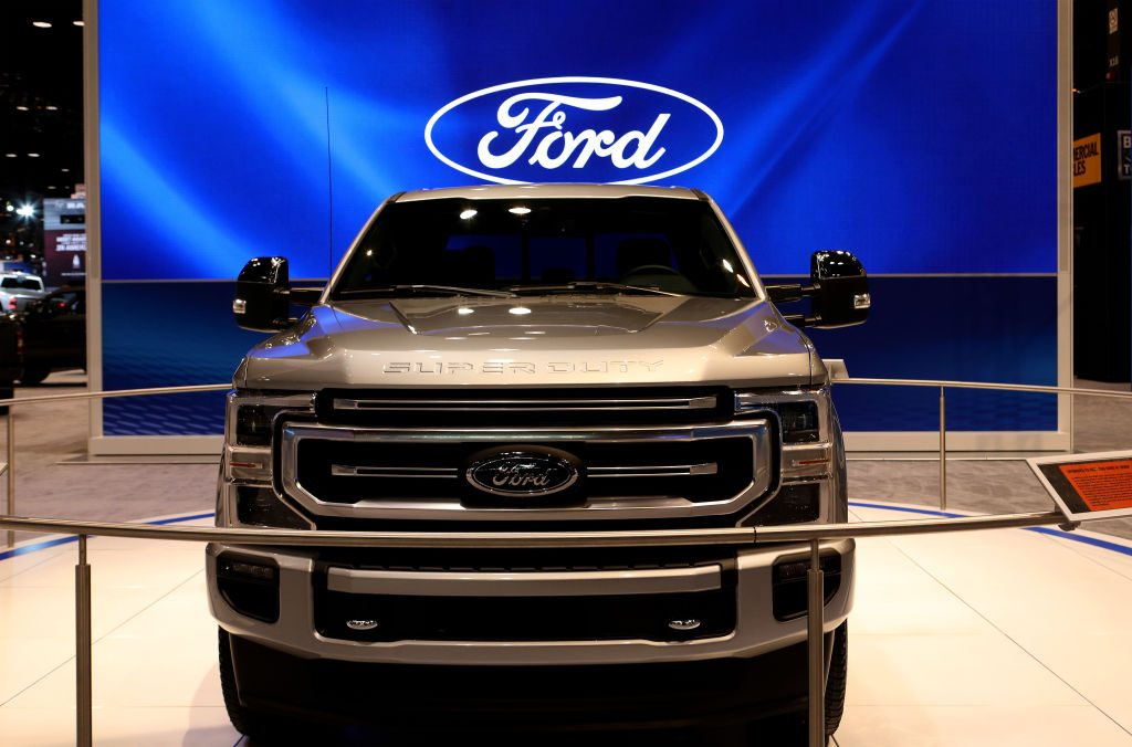 2020 Ford Super Duty on display.