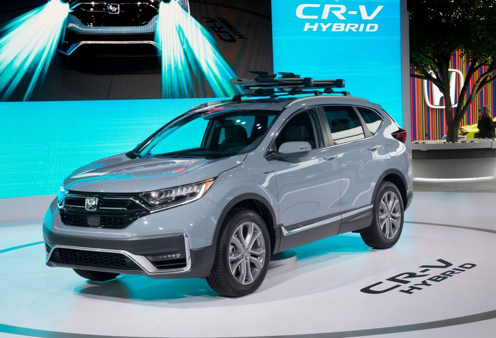 A 2020 Honda CR-V on display at an auto show.