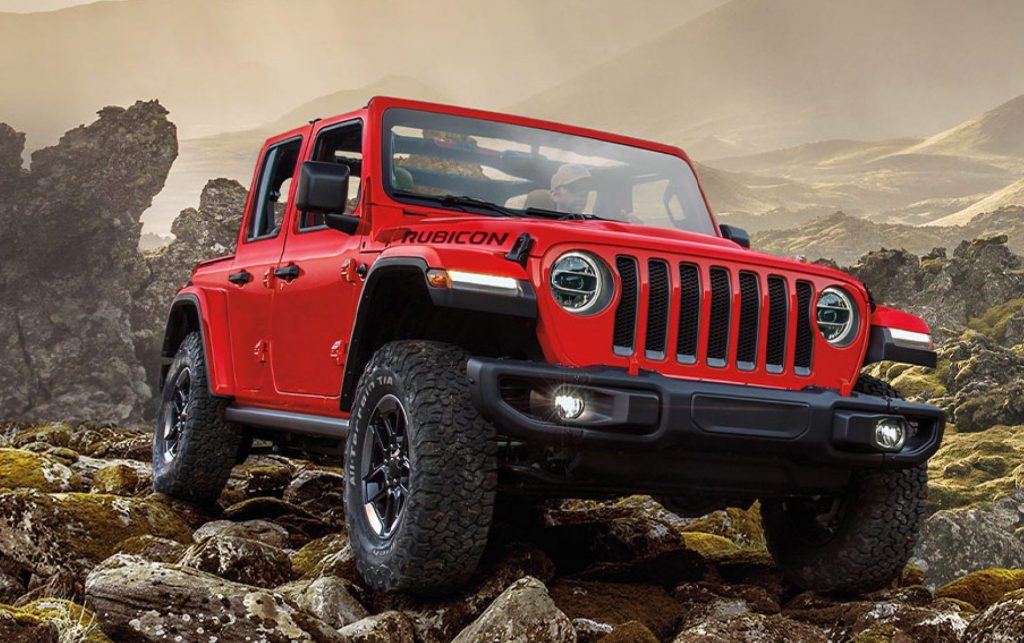 2020 Jeep Wrangler EcoDiesel climbing over rocks