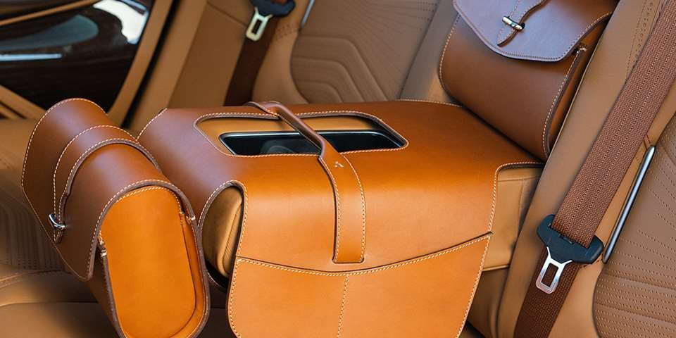 2021 Aston Martin DBX rear center armrest saddle bags