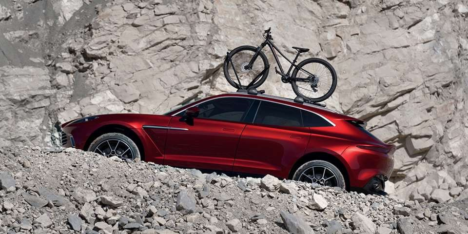 2021 Aston Martin DBX with roof-mounted bicycle
