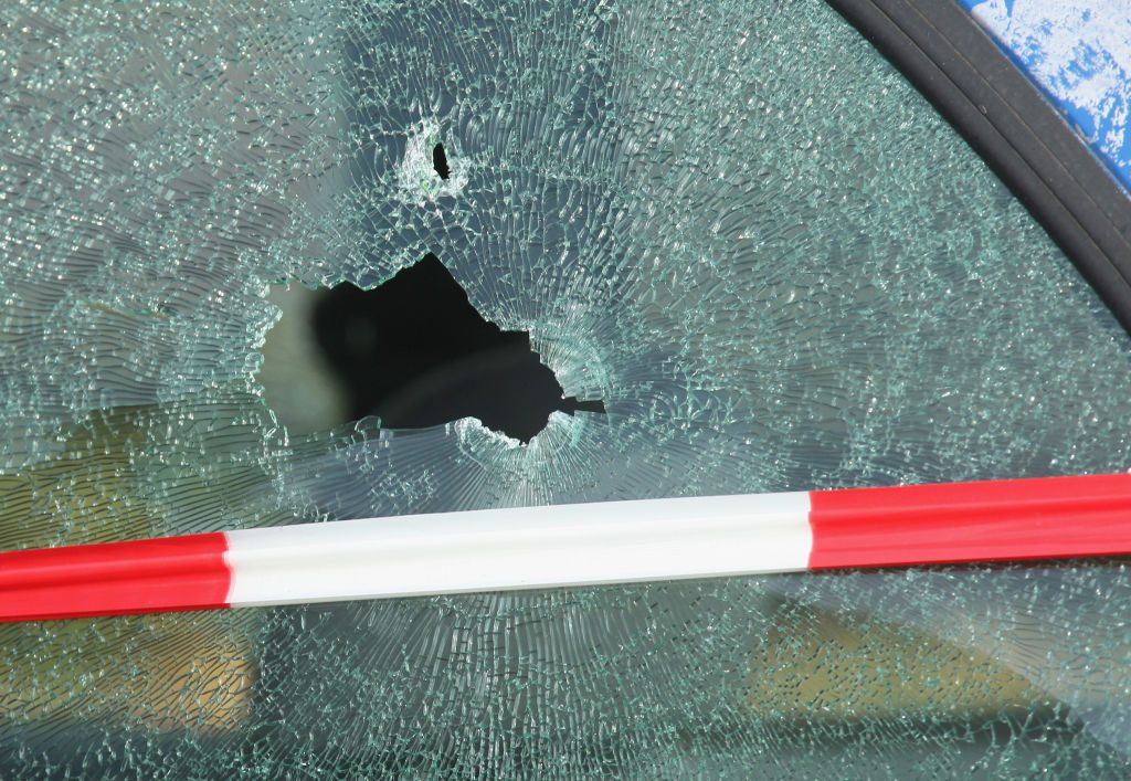 A smashed window as a result from an attempted truck theft