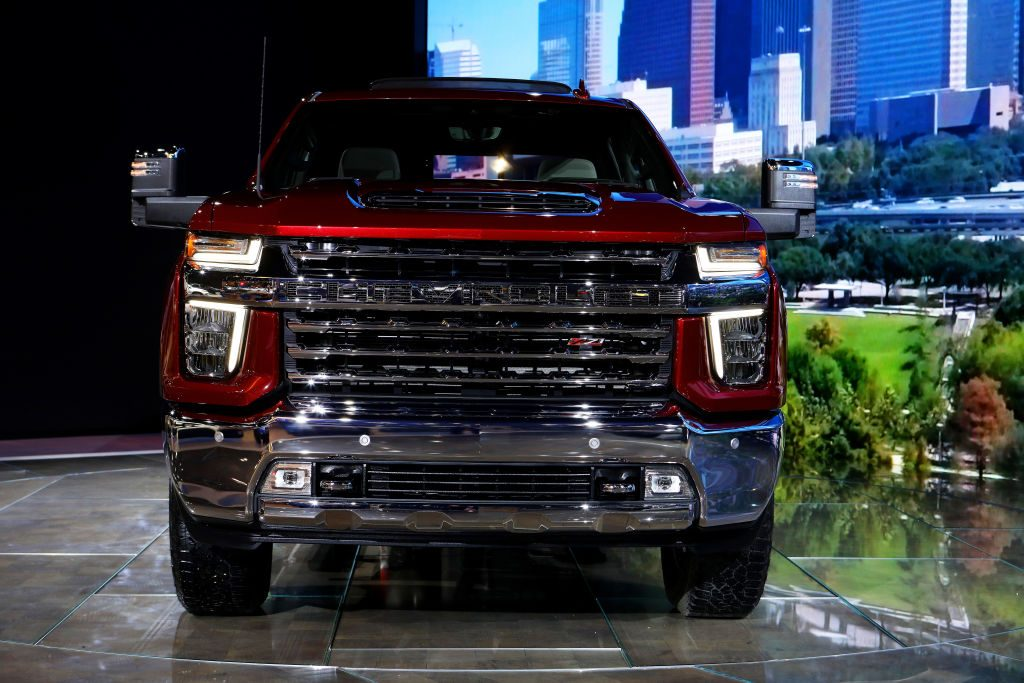 The 2020 Chevy Silverado HD on display at an auto show.
