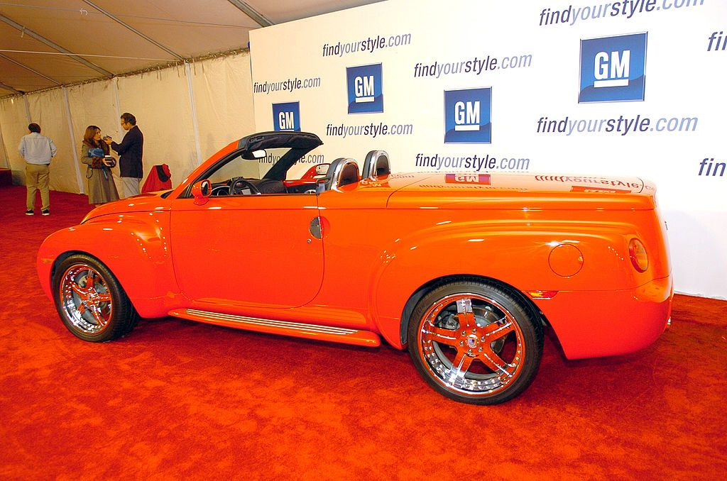 A Chevy SSR on display on the red carpet