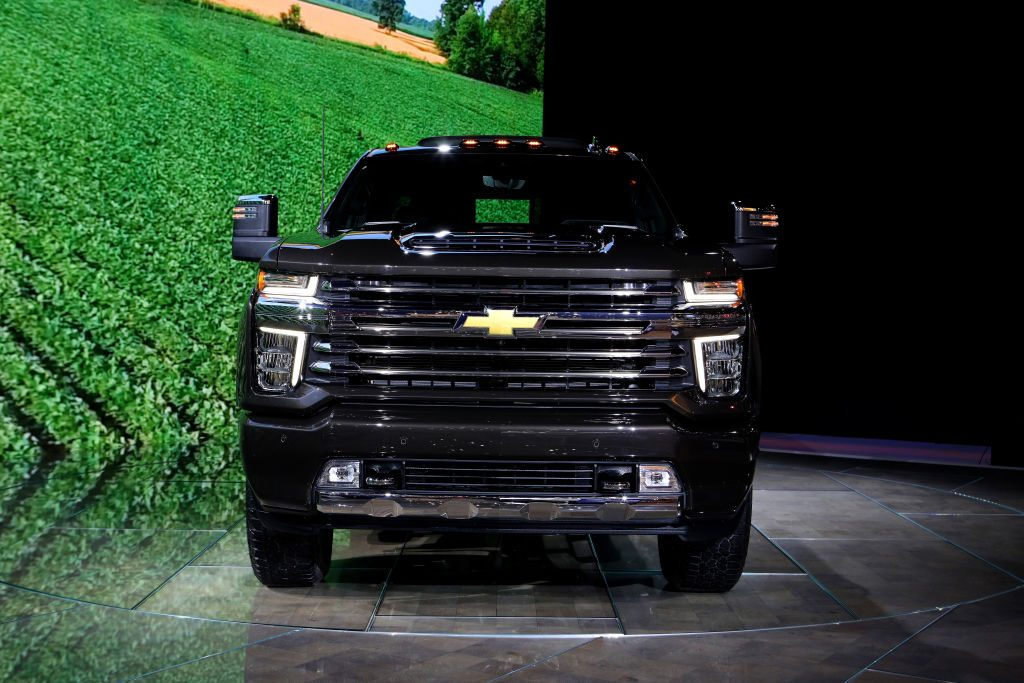 A 2020 Chevy Silverado on display